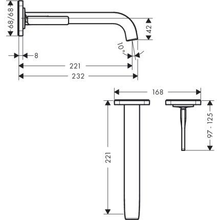 Baterie lavoar Hansgrohe Axor Citterio E din 2 elemente, de perete, montaj incastrat, necesita corp ingropat