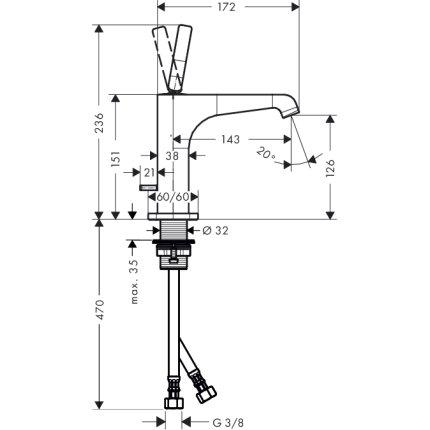 Baterie lavoar Hansgrohe Axor Citterio E, ventil pop-up