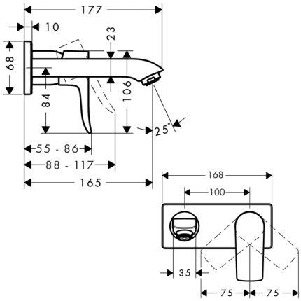 Baterie lavoar Hansgrohe Metris 165 de perete, montaj incastrat, necesita corp ingropat