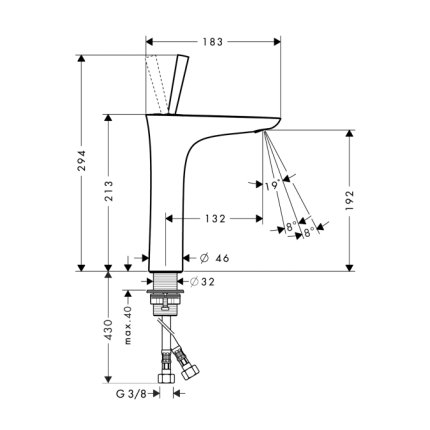 Baterie lavoar Hansgrohe Puravida 200, ventil push-open, crom