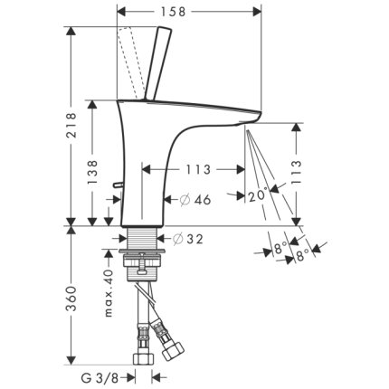 Baterie lavoar Hansgrohe PuraVida 110, ventil pop-up, alb-crom