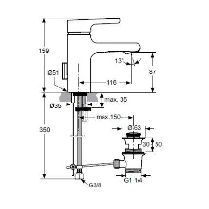 Baterie lavoar Ideal Standard Attitude, ventil pop-up