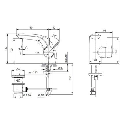 Baterie lavoar Ideal Standard Melange Piccolo, ventil pop-up