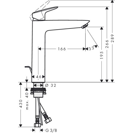 Baterie lavoar Hansgrohe Logis 190, ventil pop-up, pentru lavoar tip bol