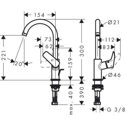 Baterie lavoar Hansgrohe Logis 210, ventil pop-up, pentru lavoar tip bol