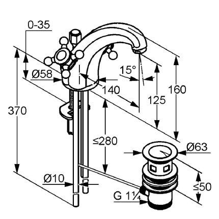 Baterie lavoar Kludi Adlon, ventil pop-up, crom