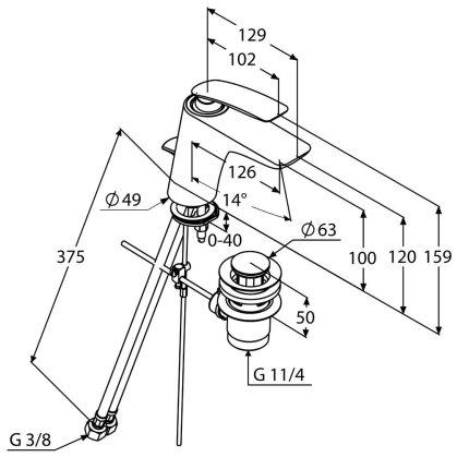 Baterie lavoar Kludi Balance, ventil pop-up, negru mat