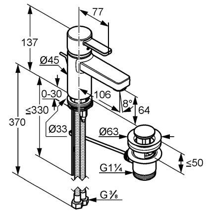 Baterie lavoar Kludi Zenta, ventil pop-up, crom