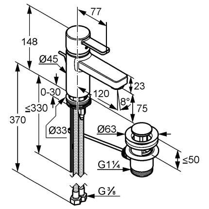 Baterie lavoar Kludi Zenta XL, ventil pop-up, crom-negru
