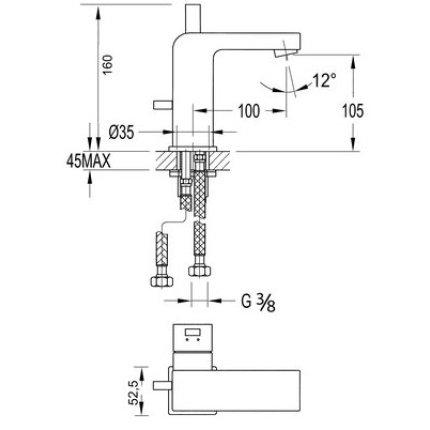Baterie lavoar Steinberg Sensuality seria 120, pipa 10cm, ventil pop-up