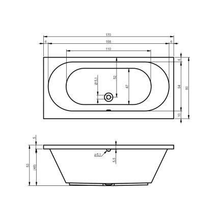 Cada baie rectangulara Riho Carolina 170x80cm, acril