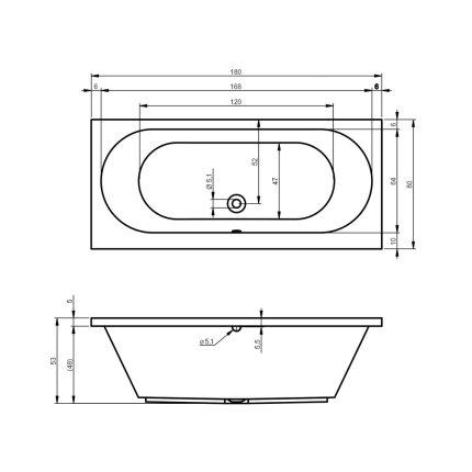 Cada baie rectangulara Riho Carolina 180x80cm, acril