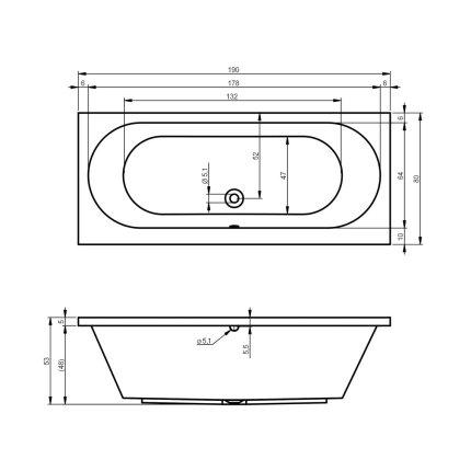 Cada rectangulara Riho Carolina 190x80cm