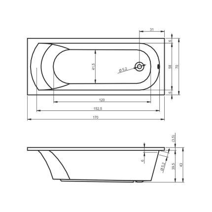 Cada baie rectangulara Riho Miami 170x70cm, acril