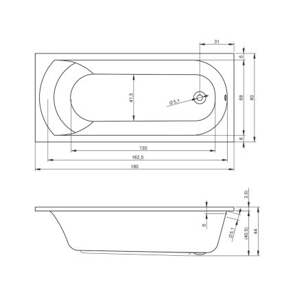 Cada baie rectangulara Riho Miami 180x80cm, acril
