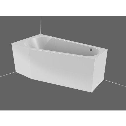 Cada baie asimetrica Riho Delta 150x80cm, acril, orientare dreapta