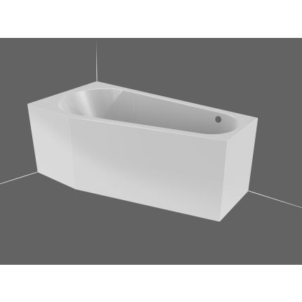 Cada baie asimetrica Riho Delta 160x80cm, acril, orientare dreapta