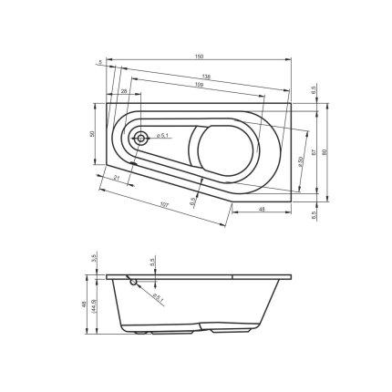 Cada baie asimetrica Riho Delta 150x80cm, acril orientare stanga