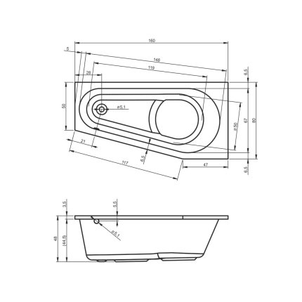 Cada baie asimetrica Riho Delta 160x80cm, acril, orientare stanga