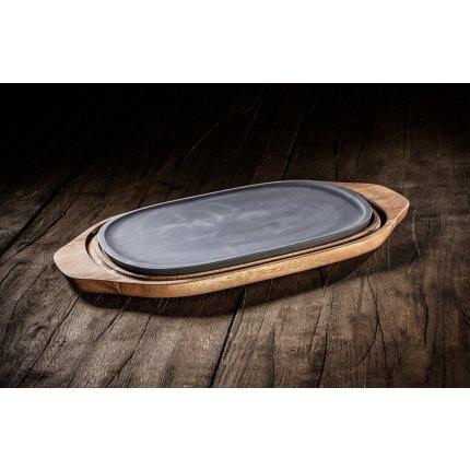 Platou cu suport lemn Villeroy & Boch Barbeque Passion 31.5x21cm