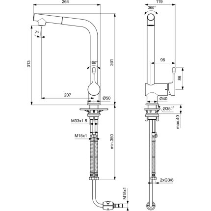 Baterie bucatarie Ideal Standard Ceralook BlueStart cu dus extractibil