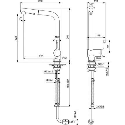 Baterie bucatarie Ideal Standard Ceralook BlueStart cu dus extractibil, crom