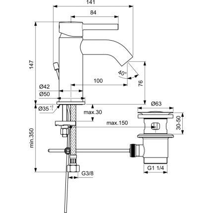 Baterie lavoar Ideal Standard Ceraline, ventil metalic pop-up, negru mat