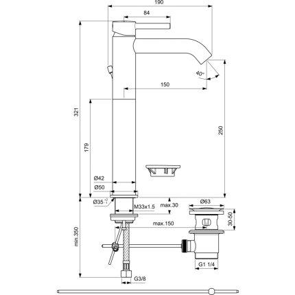 Baterie lavoar inalta Ideal Standard Ceraline 320, ventil metalic pop-up, negru mat