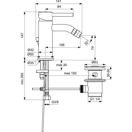 Baterie bideu Ideal Standard Ceraline, ventil metalic pop-up, negru mat