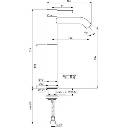 Baterie lavoar inalta Ideal Standard Ceraline 320, fara ventil, negru mat