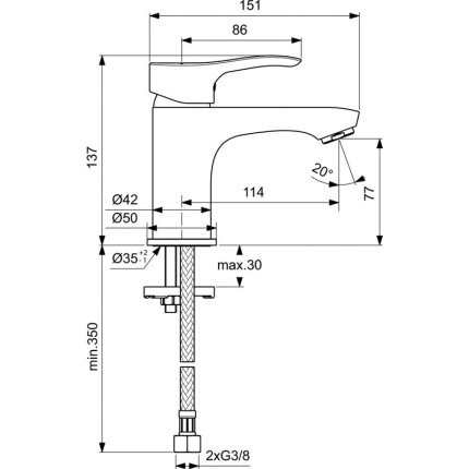 Baterie lavoar Ideal Standard Oglio BlueStart