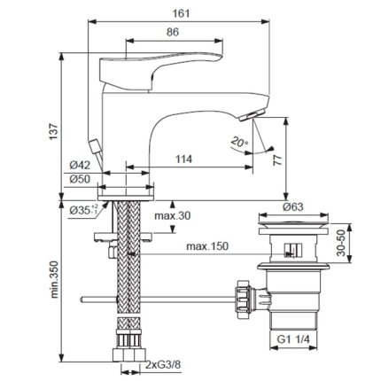 Baterie lavoar Ideal Standard Oglio BlueStart cu ventil pop-up