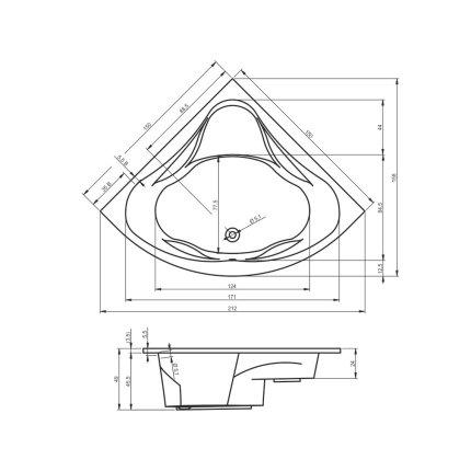 Cada baie de colt Riho Neo 150x150cm, acril