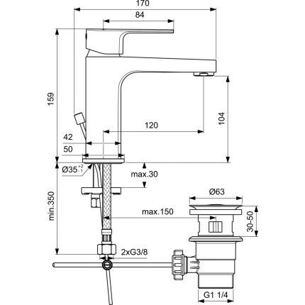 Baterie lavoar Ideal Standard Cerafine D h105, ventil pop-up, crom