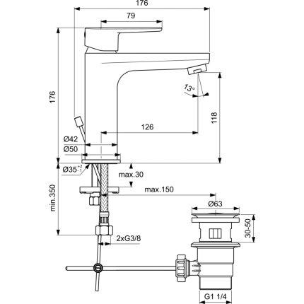 Baterie lavoar Ideal Standard Cerafine O h120, ventil pop-up, crom