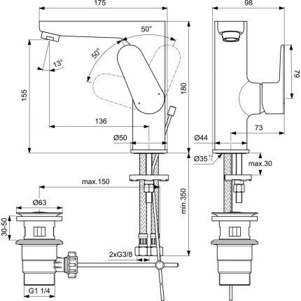 Baterie lavoar Ideal Standard Cerafine O h155, ventil pop-up, crom