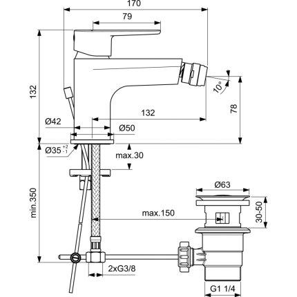 Baterie bideu Ideal Standard Cerafine O, ventil pop-up, crom