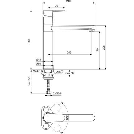 Baterie bucatarie Ideal Standard Cerafine O cu pipa tubulara inalta, negru mat