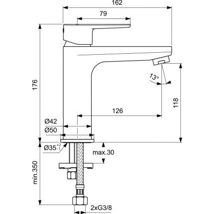 Baterie lavoar Ideal Standard Cerafine O h120, crom