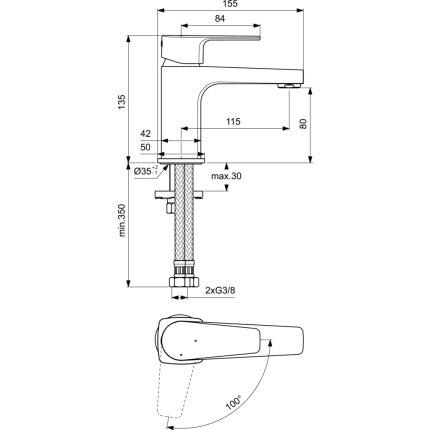Baterie lavoar Ideal Standard Cerafine D h80 BlueStart, crom