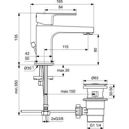 Baterie lavoar Ideal Standard Cerafine D h80, ventil pop-up, crom