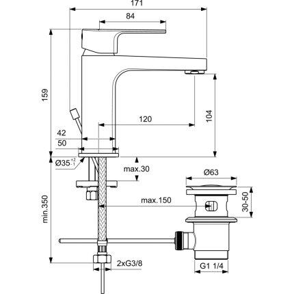 Baterie lavoar Ideal Standard Cerafine D h105, ventil metalic pop-up, gri perlat