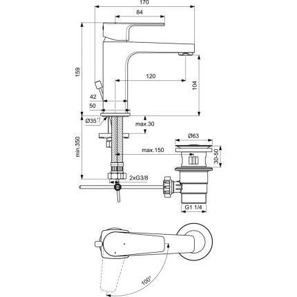Baterie lavoar Ideal Standard Cerafine D h105, BlueStart, ventil pop-up, crom