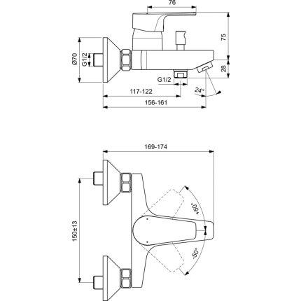 Baterie cada Ideal Standard Cerafine D, crom