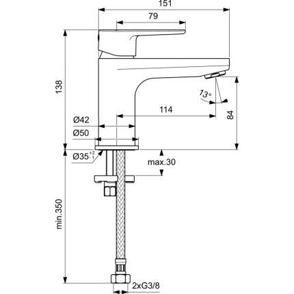 Baterie lavoar Ideal Standard Cerafine O h80, crom