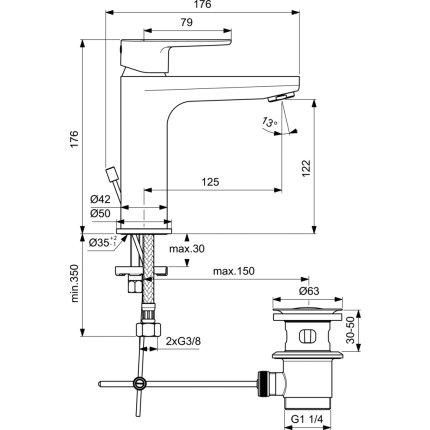 Baterie lavoar Ideal Standard Cerafine O h120, ventil metalic pop-up, negru mat