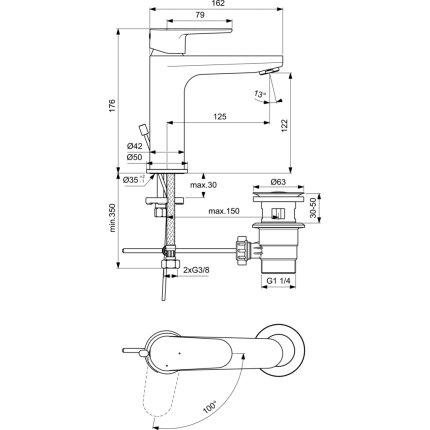 Baterie lavoar Ideal Standard Cerafine O h120 BlueStart, ventil pop-up, crom