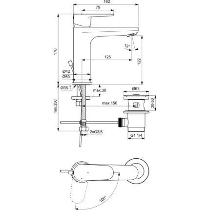 Baterie lavoar Ideal Standard Cerafine O h120 BlueStart, ventil metalic pop-up, crom