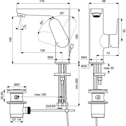 Baterie lavoar Ideal Standard Cerafine O h155, ventil metalic pop-up, crom