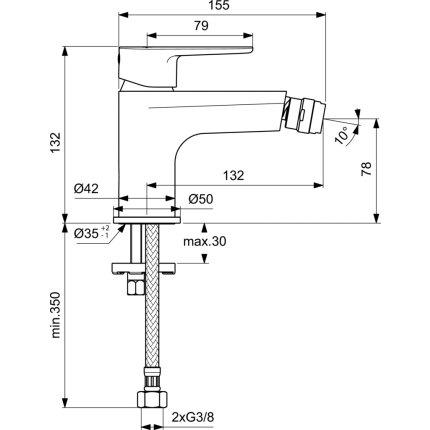 Baterie bideu Ideal Standard Cerafine O, crom